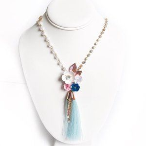 NWT Betsey Johnson Long Floral Tassel Necklace